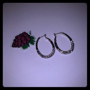 Crystal and silver pave earrings